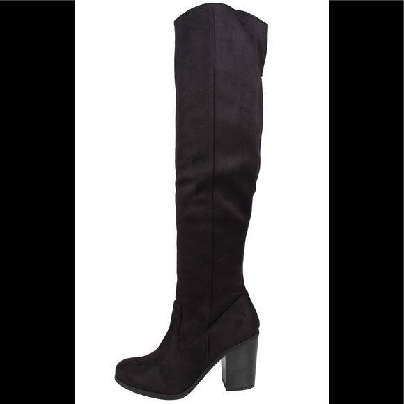 b527ed3c897 Black faux suede open back over the knee boot Boutique